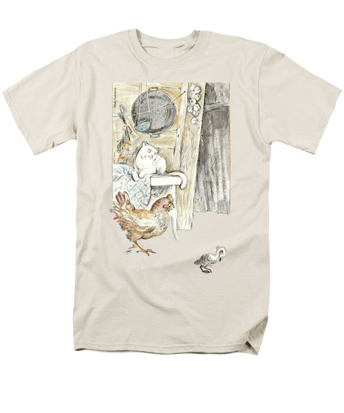The Ugly Duckling - Bullied By Mean Hen And Proud White Cat - Illustration For Classic Fairy Tale Men's T-Shirt  (Regular Fit) by Elena Abdulaeva