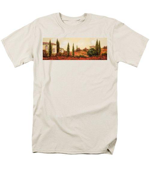 tre case tra i papaveri T-Shirt by Guido Borelli