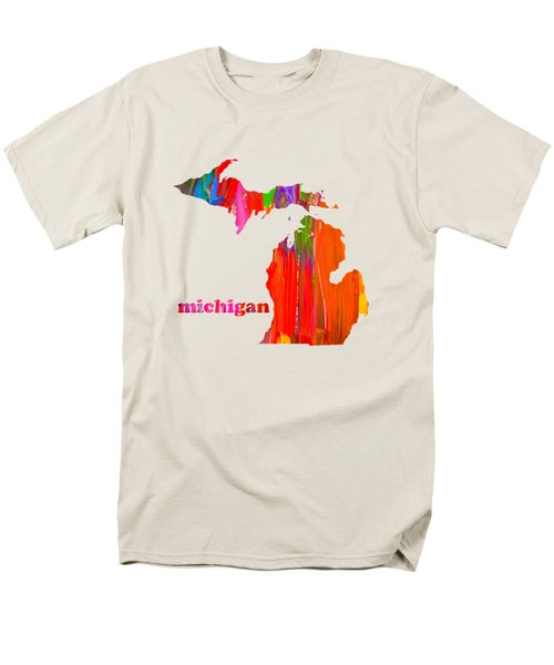 Vibrant Colorful Michigan State Map Painting Men's T-Shirt  (Regular Fit) by Design Turnpike