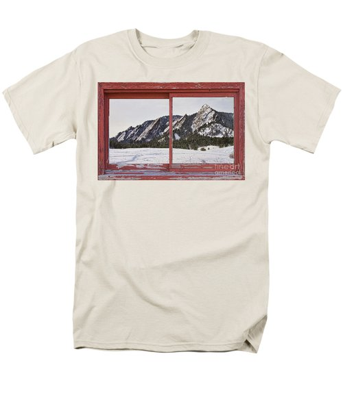 Winter Flatirons Boulder Colorado Red barn Picture Window Frame  T-Shirt by James BO  Insogna