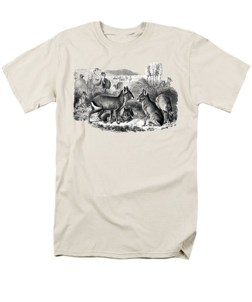 woodcut drawing of South American Maras Men's T-Shirt  (Regular Fit) by The one eyed Raven