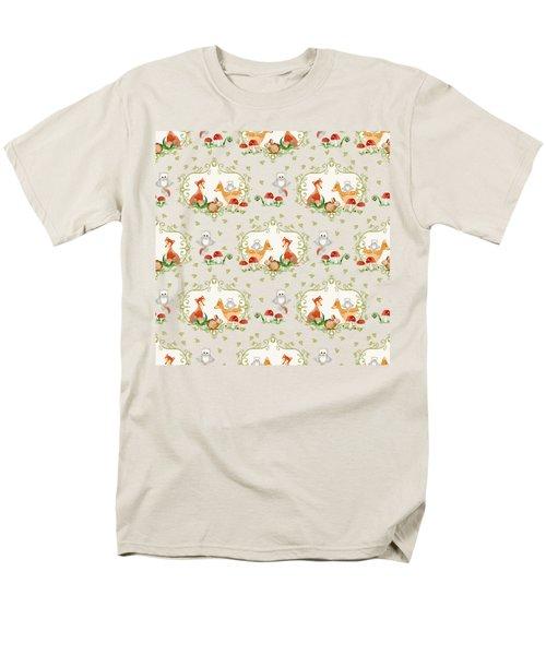 Woodland Fairy Tale - Pink Sweet Animals Fox Deer Rabbit Owl - Half Drop Repeat Men's T-Shirt  (Regular Fit) by Audrey Jeanne Roberts