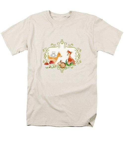 Woodland Fairytale - Grey Animals Deer Owl Fox Bunny N Mushrooms Men's T-Shirt  (Regular Fit) by Audrey Jeanne Roberts