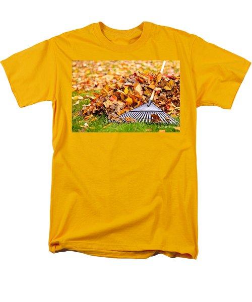 Fall leaves with rake T-Shirt by Elena Elisseeva
