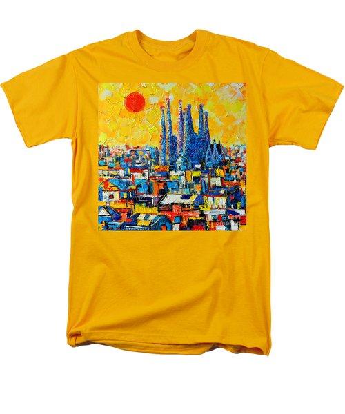 ABSTRACT SUNSET OVER SAGRADA FAMILIA IN BARCELONA T-Shirt by ANA MARIA EDULESCU
