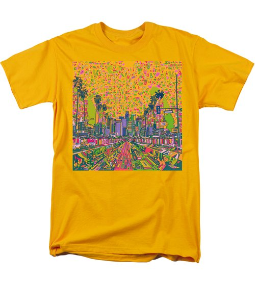 Los Angeles Skyline Abstract Men's T-Shirt  (Regular Fit) by Bekim Art