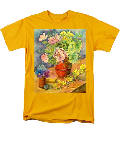 Roses And Pansies T-Shirt by Julia Rowntree