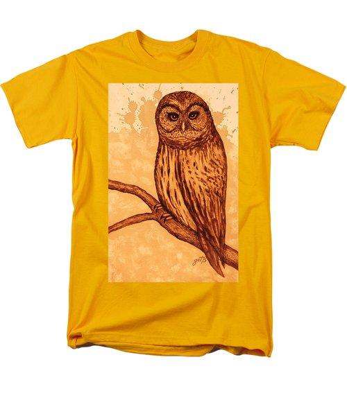 Barred Owl coffee painting T-Shirt by Georgeta  Blanaru