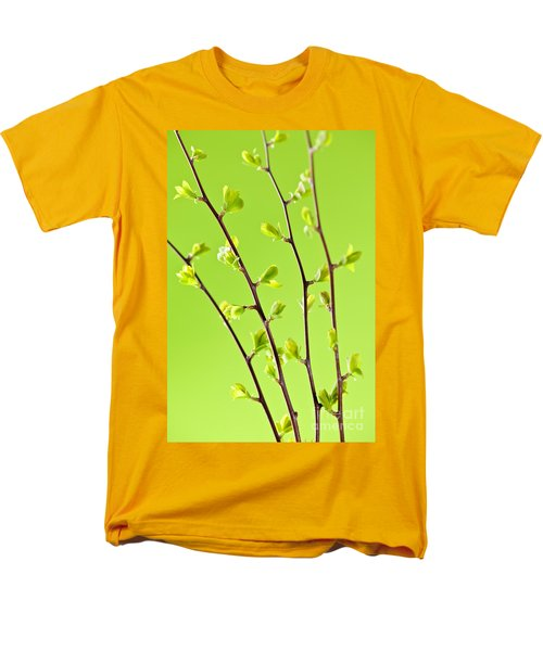 Branches with green spring leaves T-Shirt by Elena Elisseeva