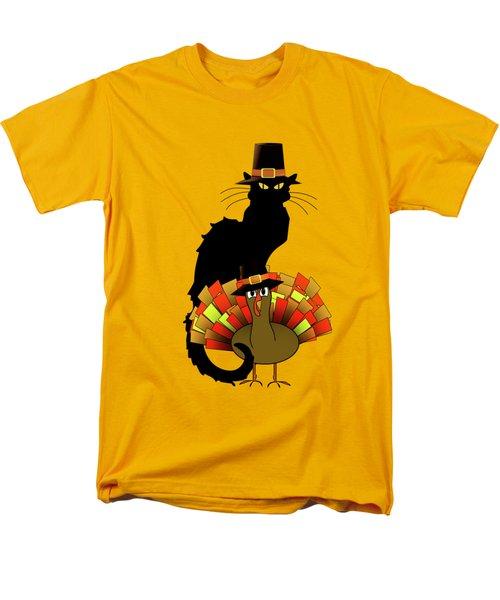 Thanksgiving Le Chat Noir With Turkey Pilgrim Men's T-Shirt  (Regular Fit) by Gravityx9   Designs