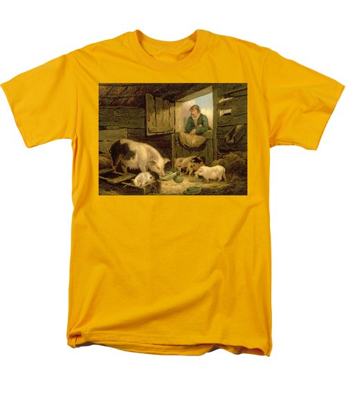 A Boy Looking Into A Pig Sty Men's T-Shirt  (Regular Fit) by George Morland