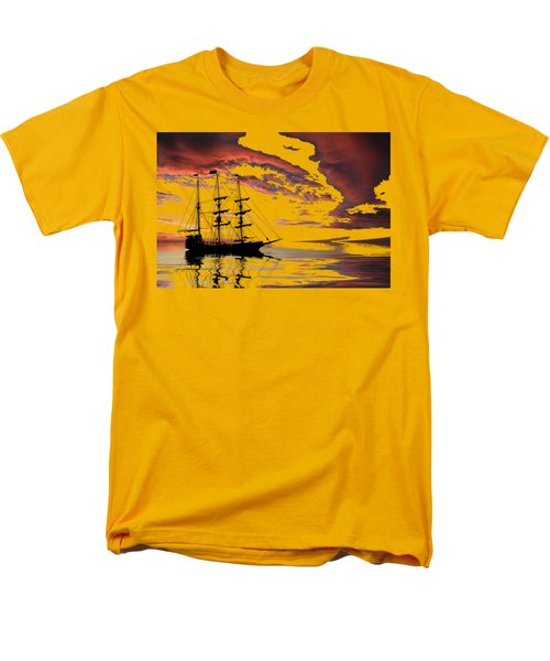 Pirate Ship At Sunset Men's T-Shirt  (Regular Fit) by Shane Bechler