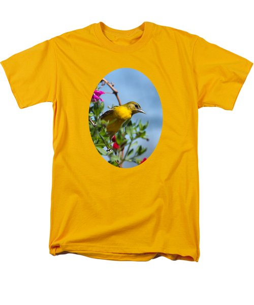 Female Baltimore Oriole In A Flower Basket Men's T-Shirt  (Regular Fit) by Christina Rollo