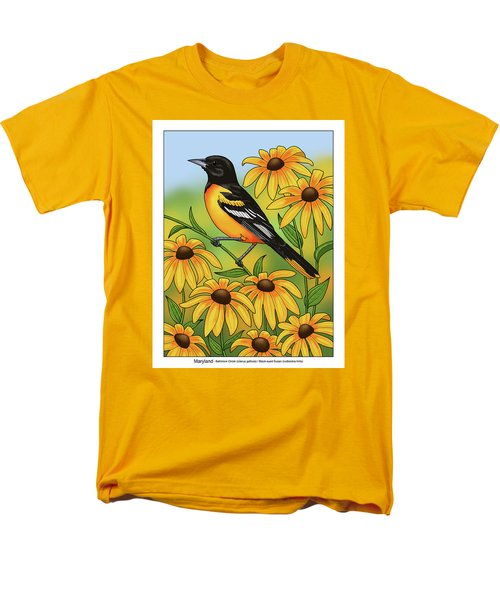 Maryland State Bird Oriole And Daisy Flower Men's T-Shirt  (Regular Fit) by Crista Forest