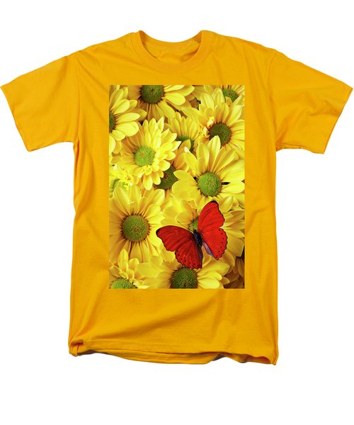Red butterfly on yellow mums T-Shirt by Garry Gay