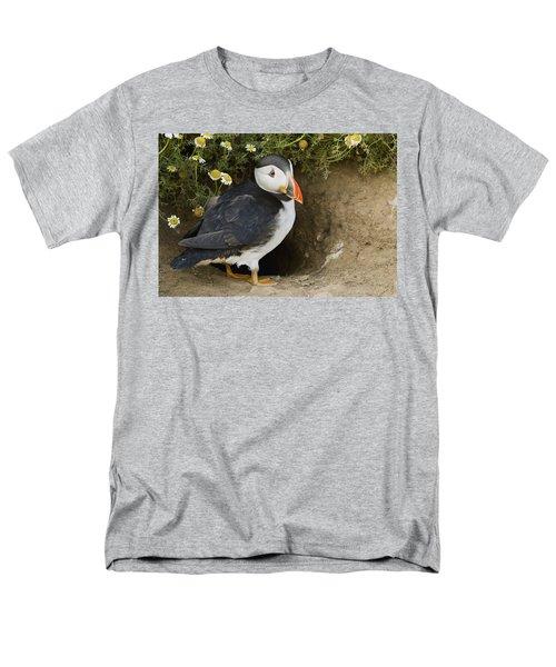 Atlantic Puffin At Burrow Skomer Island Men's T-Shirt  (Regular Fit) by Sebastian Kennerknecht
