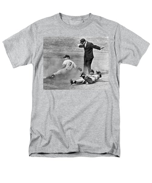 Mickey Mantle Steals Second Men's T-Shirt  (Regular Fit) by Underwood Archives