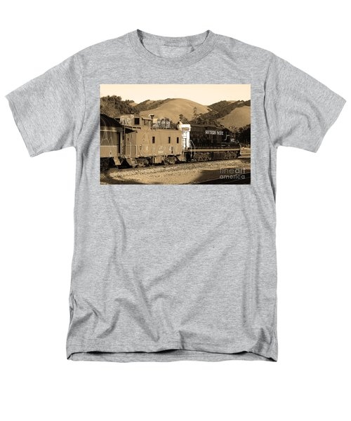 Historic Niles Trains in California.Southern Pacific Locomotive and Sante Fe Caboose.7D10843.sepia T-Shirt by Wingsdomain Art and Photography
