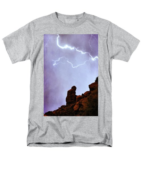 Praying Monk Camelback Mountain Paradise Valley Lightning  Storm T-Shirt by James BO  Insogna