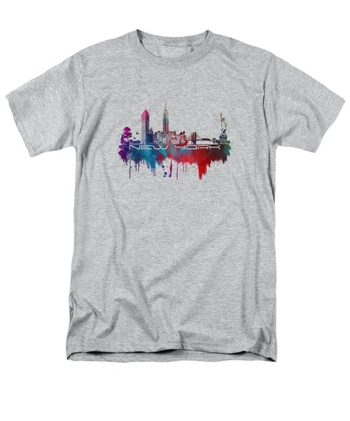 New York City Skyline Blue Men's T-Shirt  (Regular Fit) by Justyna JBJart