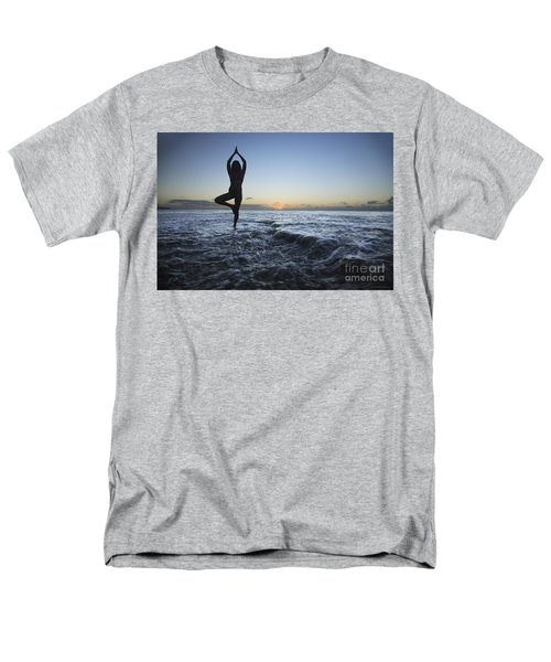 Female doing Yoga at sunset T-Shirt by Brandon Tabiolo - Printscapes