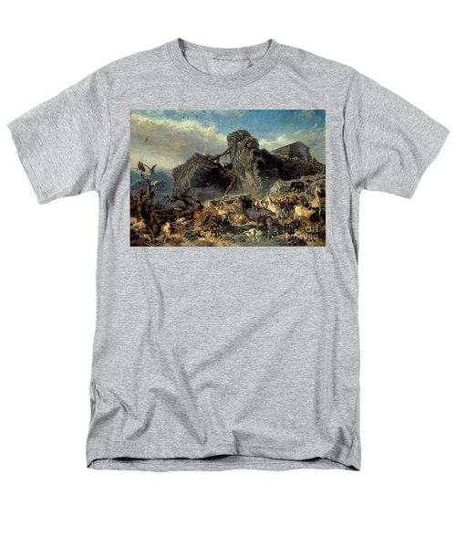 Animals Leaving The Ark, Mount Ararat  Men's T-Shirt  (Regular Fit) by Filippo Palizzi