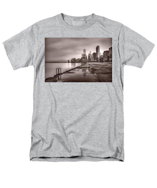 Chicago Foggy Lakefront Bw Men's T-Shirt  (Regular Fit) by Steve Gadomski