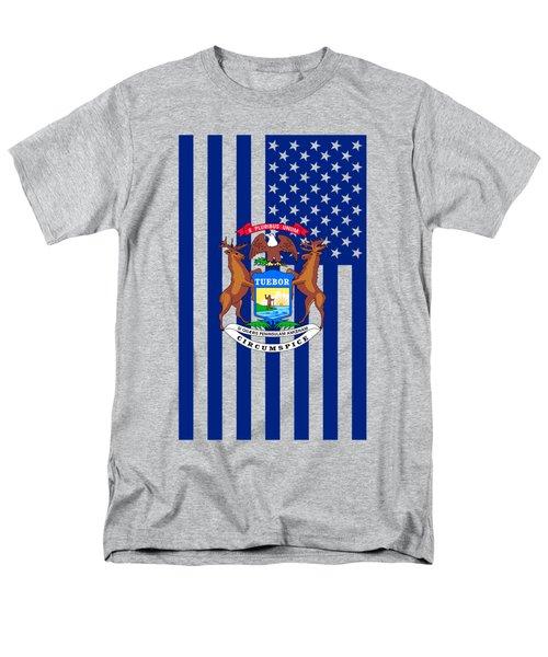 Michigan State Flag Graphic Usa Styling Men's T-Shirt  (Regular Fit) by Garaga Designs