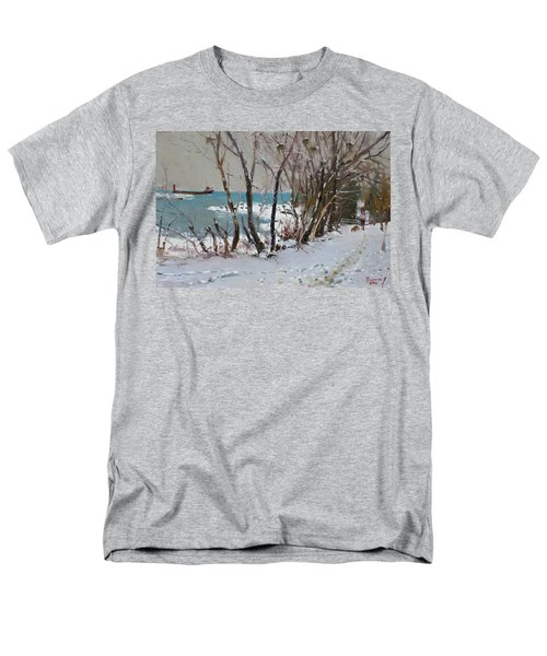 Naked Trees by the Lake Shore T-Shirt by Ylli Haruni