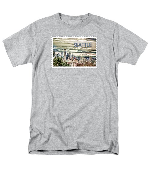 Seattle Skyline In Fog And Rain Text Seattle Men's T-Shirt  (Regular Fit) by Elaine Plesser