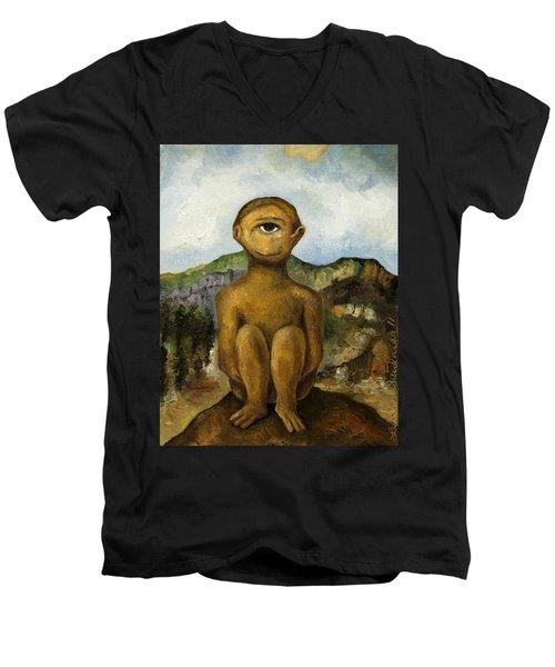 Cyclops Men's V-Neck T-Shirt by Leah Saulnier The Painting Maniac