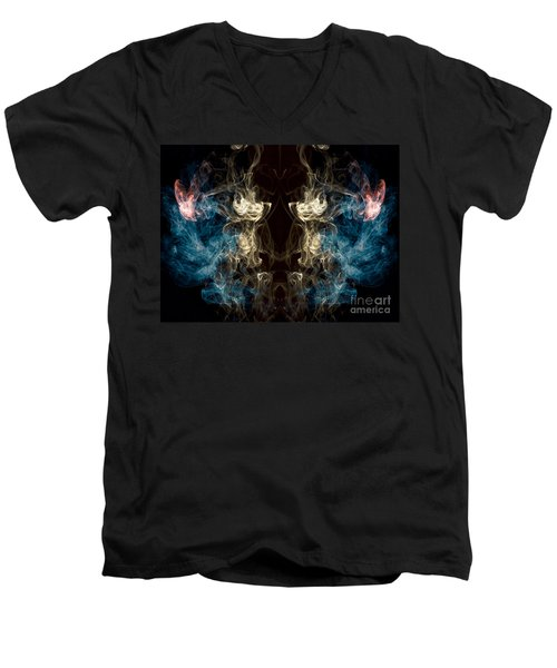 Minotaur Smoke Abstract Men's V-Neck T-Shirt by Edward Fielding