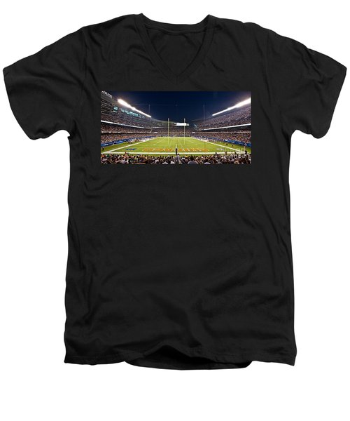 0587 Soldier Field Chicago Men's V-Neck T-Shirt by Steve Sturgill
