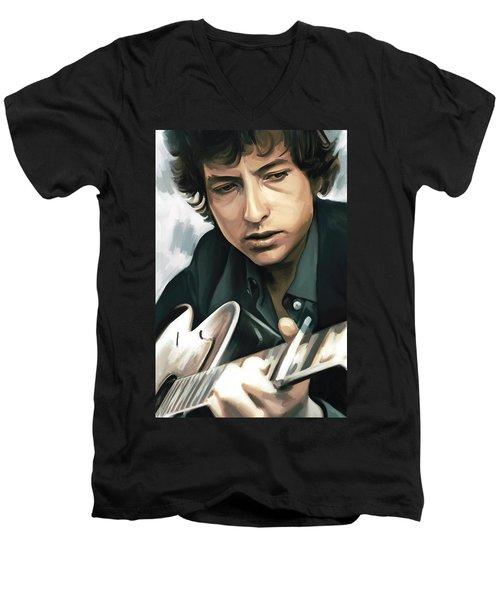 Bob Dylan Artwork Men's V-Neck T-Shirt by Sheraz A