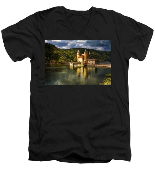 Chateau De La Roche Men's V-Neck T-Shirt by Debra and Dave Vanderlaan