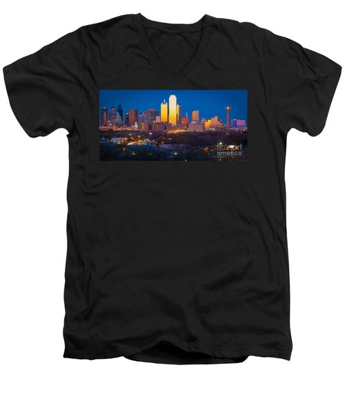 Dallas Skyline Men's V-Neck T-Shirt by Inge Johnsson