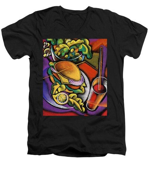 Dinner Men's V-Neck T-Shirt by Leon Zernitsky