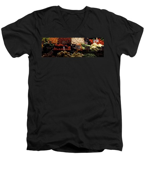 Fruits And Vegetables At A Market Men's V-Neck T-Shirt by Panoramic Images
