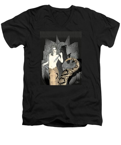 Gorgon Medusa  Men's V-Neck T-Shirt by Quim Abella