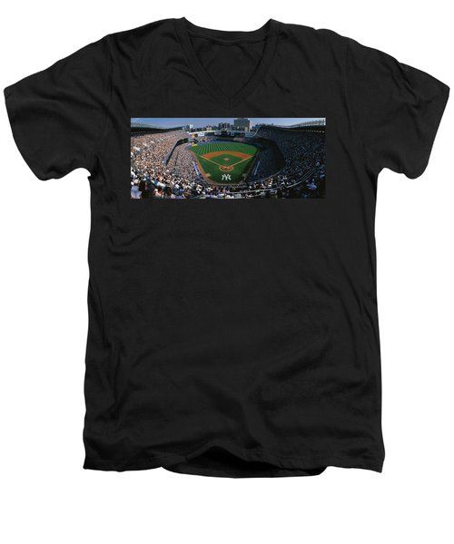 High Angle View Of A Baseball Stadium Men's V-Neck T-Shirt by Panoramic Images