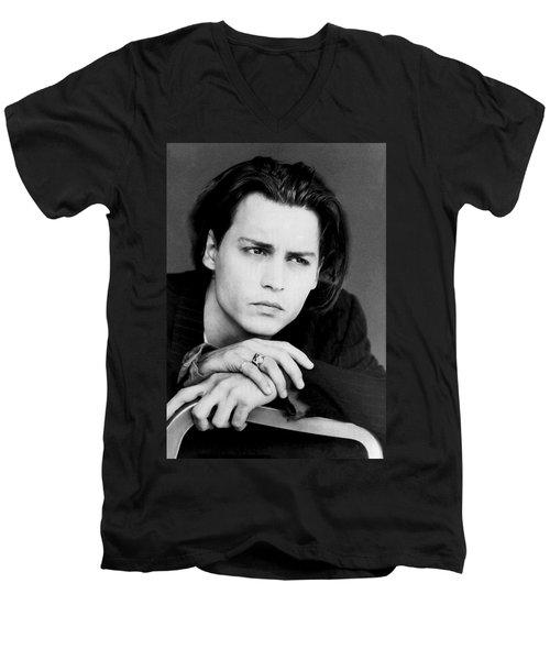 Johnny Depp Men's V-Neck T-Shirt by Karon Melillo DeVega