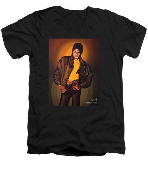 Michael Jackson Men's V-Neck T-Shirt by Paul Meijering