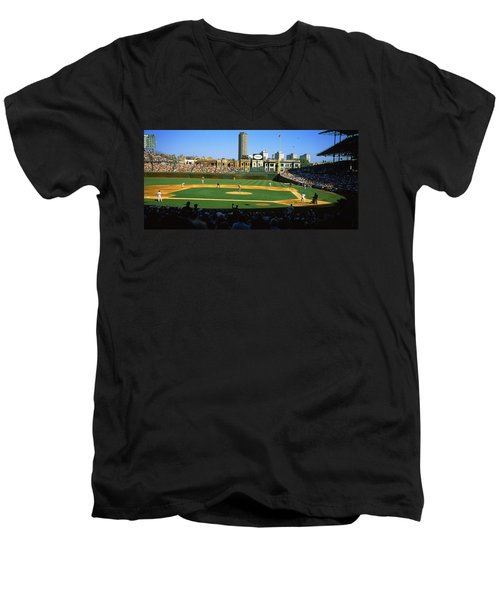 Spectators In A Stadium, Wrigley Field Men's V-Neck T-Shirt by Panoramic Images