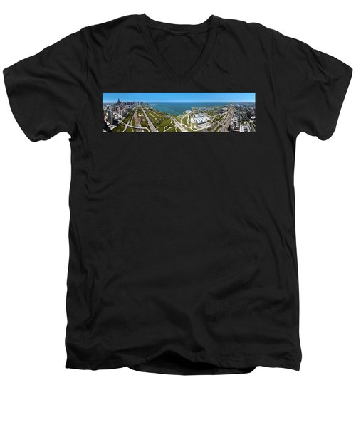 180 Degree View Of A City, Lake Men's V-Neck T-Shirt by Panoramic Images