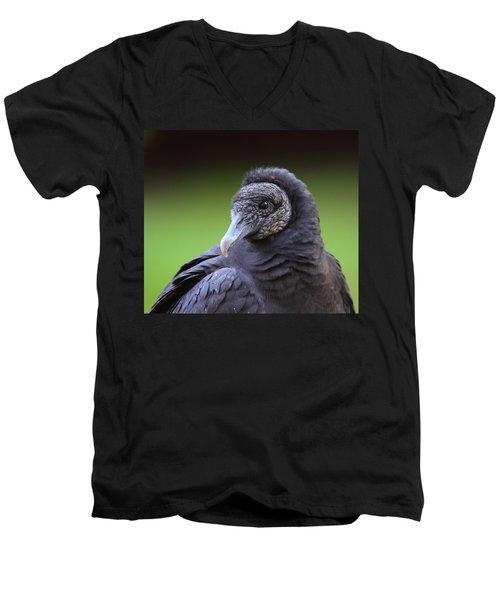 Black Vulture Portrait Men's V-Neck T-Shirt by Bruce J Robinson