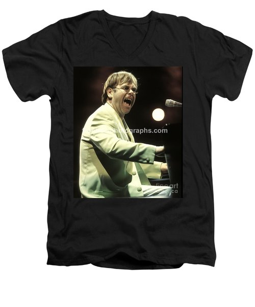 Elton John Men's V-Neck T-Shirt by Concert Photos