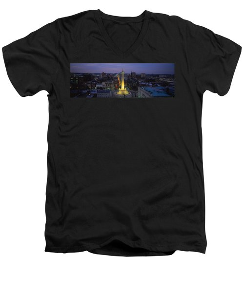 High Angle View Of A Monument Men's V-Neck T-Shirt by Panoramic Images