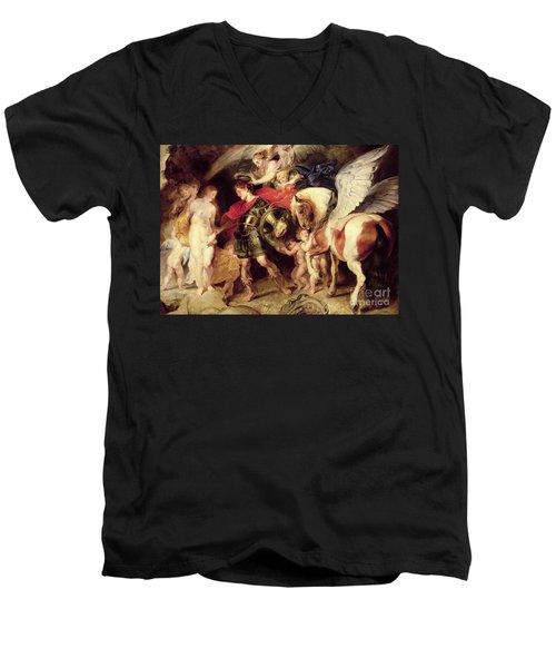 Perseus Liberating Andromeda Men's V-Neck T-Shirt by Peter Paul Rubens