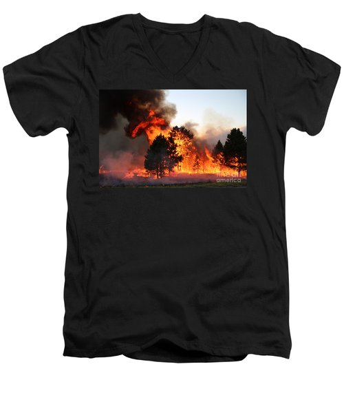 Men's V-Neck T-Shirt featuring the photograph A Burst Of Flames From The White Draw Fire by Bill Gabbert