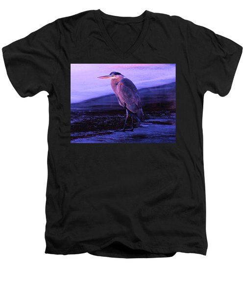A Heron On The Moyie River Men's V-Neck T-Shirt by Jeff Swan